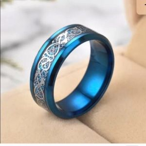 Celtic blue dragon ring